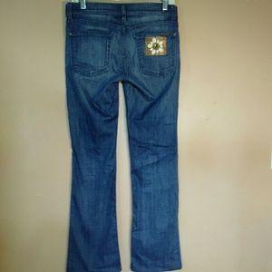 7FAM Medium Wash Bootcut Flower Blue Jeans